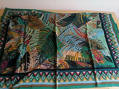 Vintage Jane Shilton- 80s silk crepe scarf tropical leaves - various colours