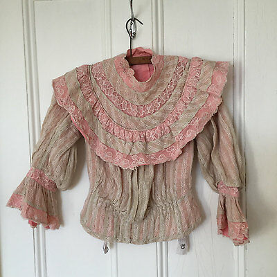 Beautiful & Rare Pink French Antique Victorian Bodice Top Blouse Lace S 1900s