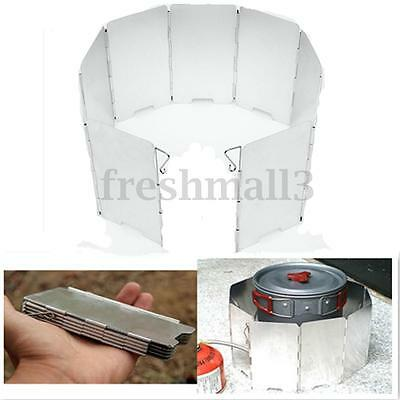 9 Plates Fold Outdoor Camping Cooker Gas Stove Wind Shield Screen Foldable Alloy