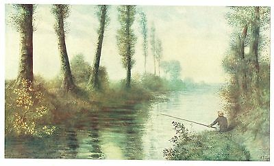 """Fisherman on the Canal"" Antique  Fine Art - After Alphonse Legros - c1900"