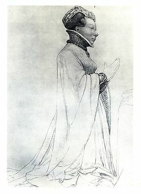 Joan II, Countess of Auvergne and Boulogne - Lithograph after Hans Holbein c1900