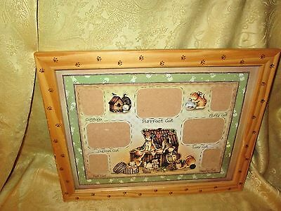 cat kitty collage picture frame holds 7 pictures w/captions unbranded AS IS