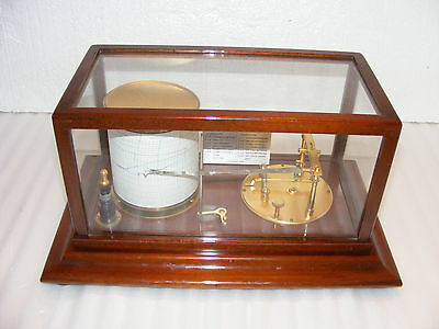 SHORT & MASON MAHOGANY CASED CYCLO - STORMOGRAPH BAROGRAPH , c.1930s. WORKING