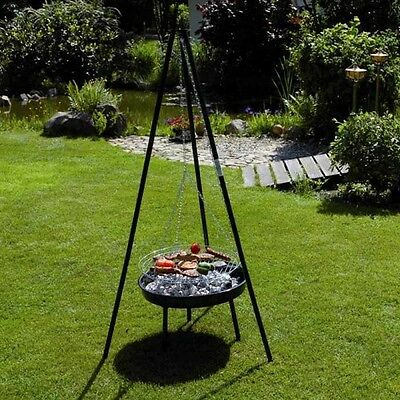 Tripod Charcoal BBQ Outdoor Barbecue Grill Garden Coal Cooking Adjustable Height