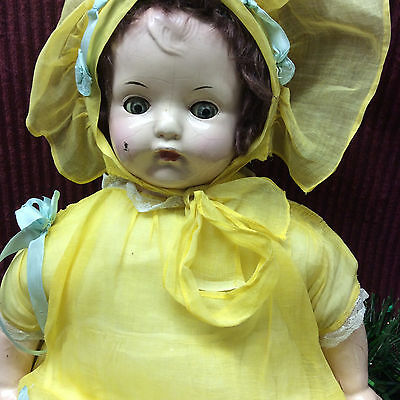 """Vintage Old 20"""" Adorable Effanbee Composition/Soft Body Doll Body Marked"""