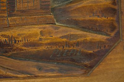 Vintage Folk Art Carved Wood Relief Picture Countryside Scene Signed Cleal