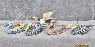 5 Vintage Ducks & Goose Christmas Ornaments Made In Japan & China