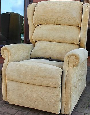 Great British Mobility Luxury Electric Rise Riser Recliner Chair Gold Chenille