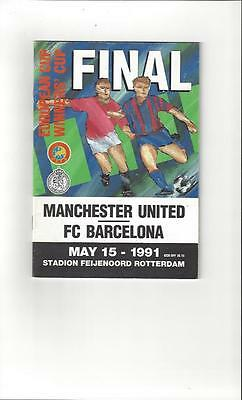 Manchester United v Barcelona Cup Winners Cup Final 1991 Football Programme