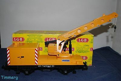 LGB 4042 G Scale Mantra Yellow Working Construction Crane Yellow Box **