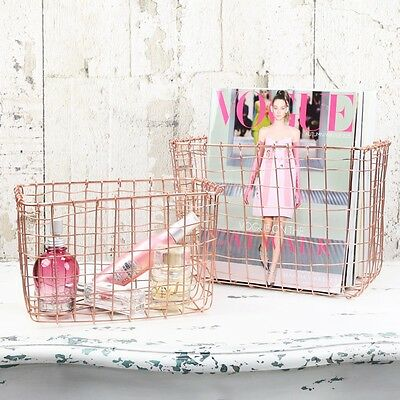 Sass and Belle Set of 2 Wire Mesh Copper Baskets