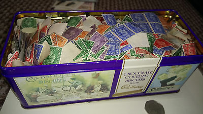 Great Britain Stamps George VI Cadbury's Tin of unchecked stamps - winter work!