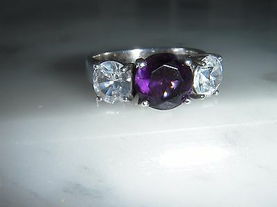 A Fine  Silver Amethyst & White Stone Trilogy Ring