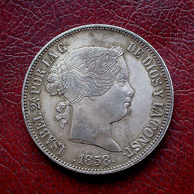 Spain 1858 silver 20 reales