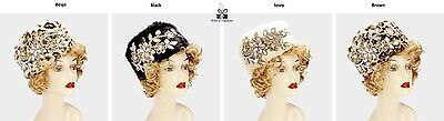 Women's Crystal Flower Embellished Hat Fascinator Wedding Formal - USA Seller