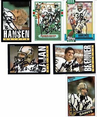 Lot of 6 Autographed NFL Football Cards - Saints - Various Players, Years - #2
