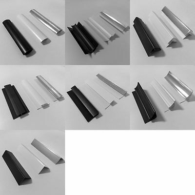 PVC Trims for Decorative Bathroom Wall Panels 2.6m Long in Black, White & Chrome