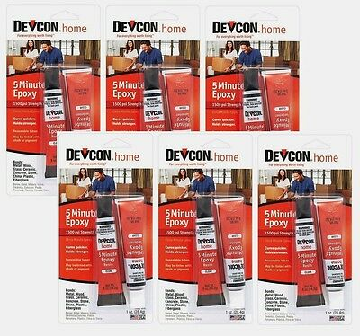 Lot / 6 Devcon 20545 Home 5 Minute Epoxy High Strength Multi Adhesive CLEAR 1 oz