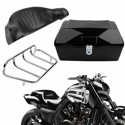 Motorcycle back top box case universal scooter motorbike rear luggage black