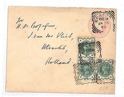 GG40 1902 GB SQUARED CIRCLES *Seaford* Sussex Penny Pink Jubilees Cover Holland