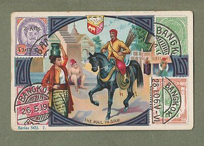 SIAM Thailand OLD Cigarette trade card shows stamps of King Rama 5 & post  #064