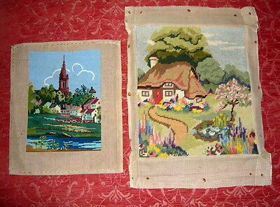 Completed Tapestries of a cottage and a church view. Unbranded.