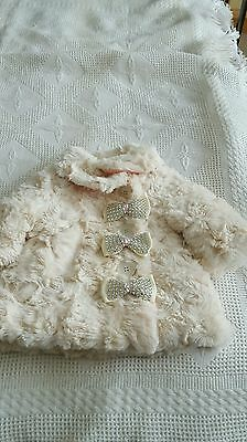 Romany crystal Bling Baby Girls Fluffy Cream coat 9-12 months