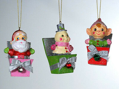 Christmas Jack In Box Santa Snowman Elf  3 Ornaments Katherine's Collection NEW