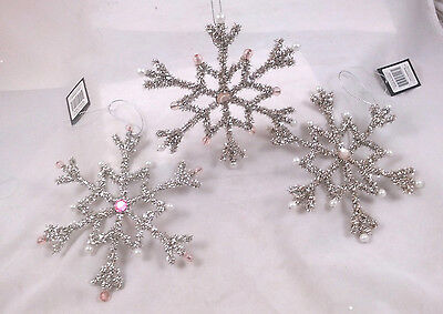 Vintage-style SNOWFLAKE Christmas Ornaments wire & Tinsel Jeweled Set of 3 NEW