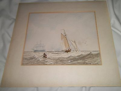 Original Watercolour Painting Nautical Picture Sailing Boats Seascape signed