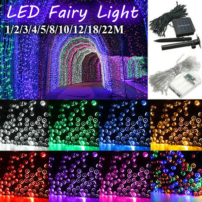 1-22M LED Battery/Solar Fairy String Light Outdoor Wedding Xmas Room Party Lamp