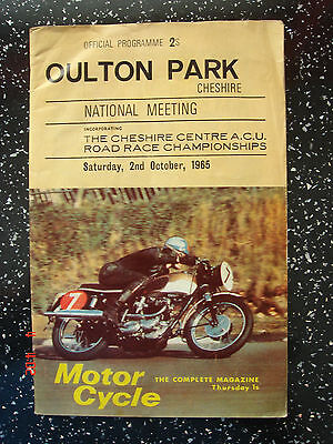 Oulton Park National Motorcycle road race programme 1965