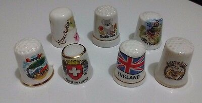 7 Vintage Foreign Countries Thimble Lot, Various Sizes & Countries