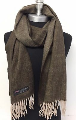 Men's 100% CASHMERE Scarf Brown / Beige Herring Bone Tweed Design Soft Wrap Wool