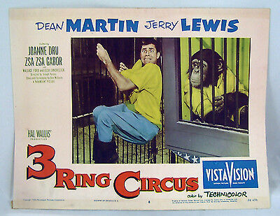 VINTAGE LOBBY CARD 1954 Jerry Lewis & Chimpanzee 3 RING CIRCUS #6