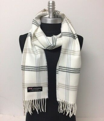 Men Women 100%CASHMERE SCARF Plaid Off White Gray Coffee Scotland Soft Wool Wrap