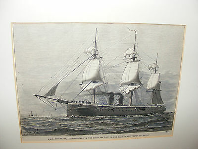 Antique Print Engraving Of The Ship H.m.s. Bacchante By I R Wells Framed 1879