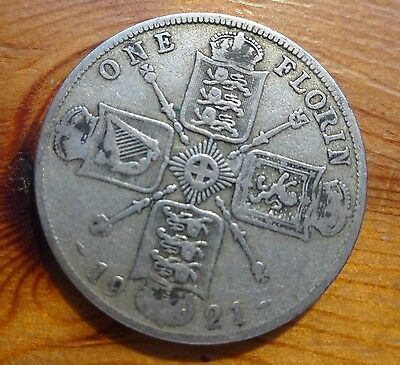 1921 - Silver - Two Shillings / Florin - Great Britain - King George V - UK Coin