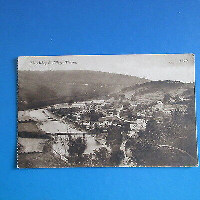 Old Postcard of The Abbey and Village, Tintern.