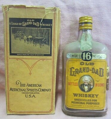 Orig 1917 Old Grand-Dad MEDICINAL WHISKEY BOTTLE & BOX A-M-S Co.- Pint