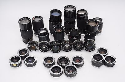 Lot of 16 Olympus OM Mount Lenses + 11 Teleconverters #UPP025 PARTS/REPAIR