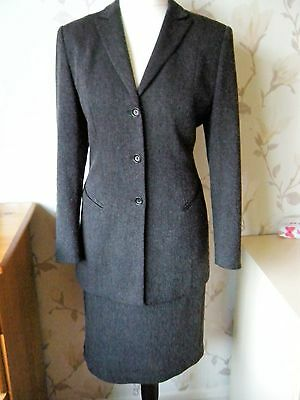 Charcoal Grey Fully Lined Skirt Suit Bu Gerry Weber  Size 14