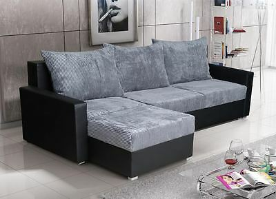 BRAND NEW CORNER SOFA BED gray and black  WITH STORAGE