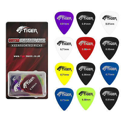 Tiger Gel Guitar Picks - Pack of 12 - Variety of Gauges