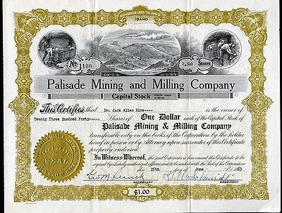 PALISADE MINING and MILLING COMPANY COEUR d'ALENE IDAHO 1953 STOCK CERTIFICATE