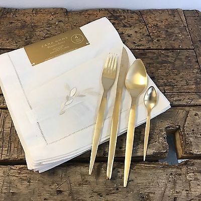 Zara Home Napkins And Gold tone Cutlery, Lot. New.