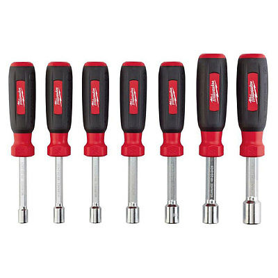 7 Pcs Milwaukee Hollow Shaft SAE Nut Driver Set Multi Size Hex Steel Shanks Tool