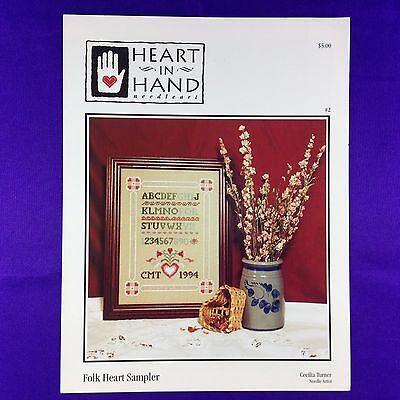 "Vintage Cross Stitch Leaflet Chart ""Folk Heart Sampler"" by Heart In Hand"