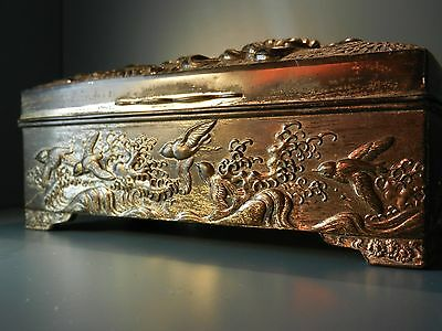 Oriental silver metal Jewellery box - Chinese Japanese Antique - 19th century