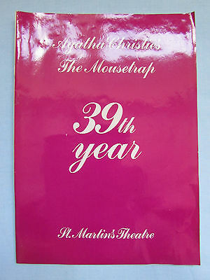 Fab 39Th Year Agatha Christie *the Mousetrap* St Martin's Theatre Programme